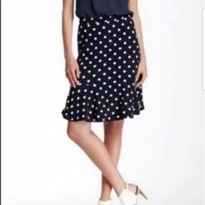 PLEIONE Navy White Polka Dot Skirt Anthropologie
